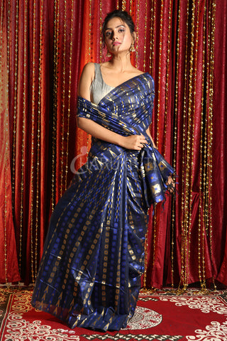 NAVY BLUE BANARAS JAMDANI SAREE WITH ALL OVER MULTICOLORED ZARI WOVEN DESIGN