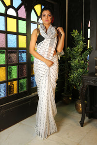 White Jamdani Saree With Allover Black Butta
