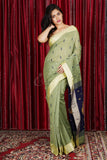SAGE GREEN PURE COTTON SAREE WITH ALLOVER WEAVE & NAVY BLUE PALLU