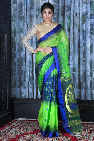 PARROT GREEN AND ROYAL BLUE CHECKERED HANDLOOM SAREE WITH ZARI WORK PALLU