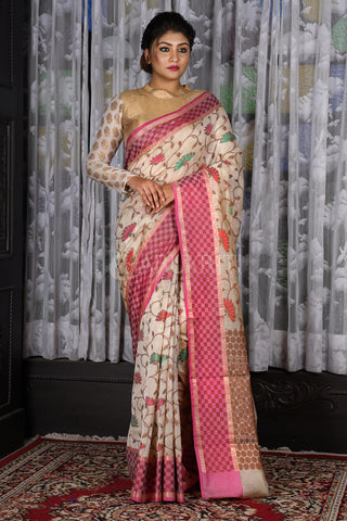 BANARAS HANDLOOM SAREE WITH MULTICOLORED FLORAL EMBROIDERY