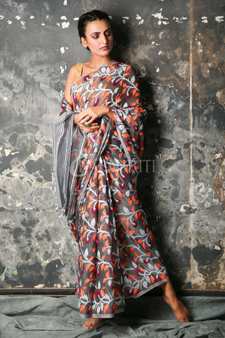 GREY JAMDANI WITH ALL OVER FLORAL WOVEN DESIGN