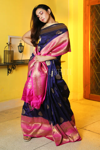 BLUE MANIPURI KATKI GARDWAL SAREE WITH PINK ZARI BORDER AND PALLU