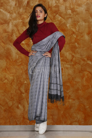 STEEL KORA SILK SAREE WITH WOVEN DESIGN