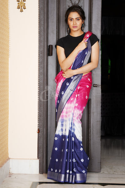 PINK AND NAVY BLUE TIE & DYE BANDHANI PRINTED LINEN SAREE