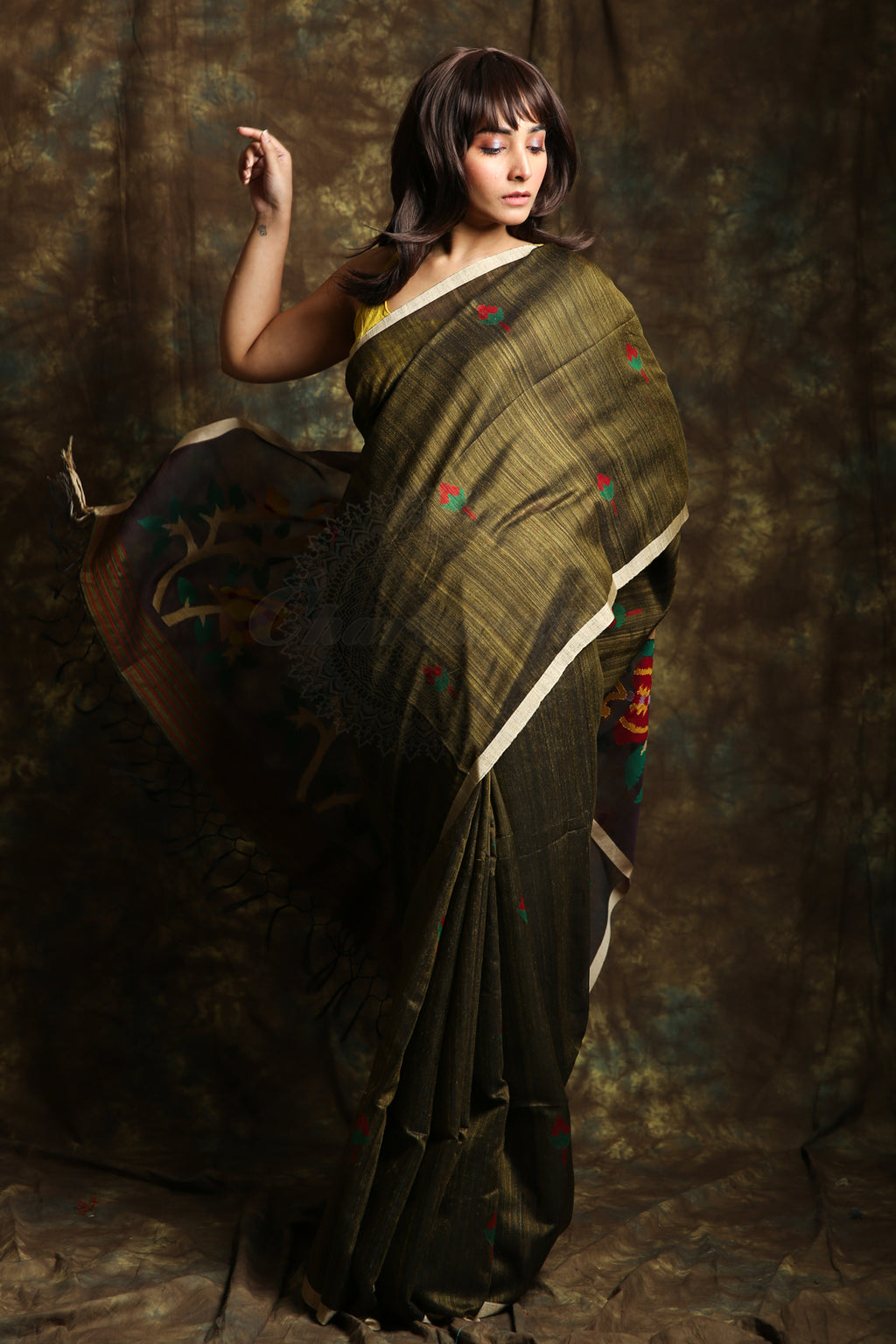 The Army Green Is Here A Rich Pure Matka Silk Saree With Floral Weaving Resham Pallu - Charukriti.co.in