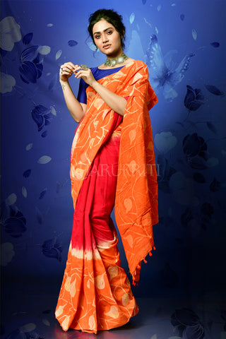 MAJENTA AND RUST HALF HALF BATIK ON ORGANIC COTTON SAREE