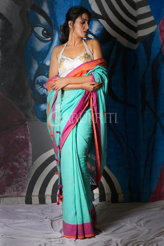 SKY BLUE COTTON BLENDED LINEN SAREE WITH DUAL BORDER AND PALLU