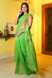 PARROT GREEN BLENDED COTTON SAREE WITH TEMPLE BORDER GHECHA WEAVING AND PALLU
