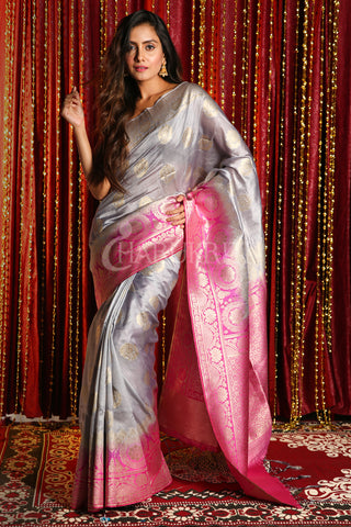 STEEL BLENDED TUSSAR SAREE WITH ALLOVER ZARI AND MAGENTA PALLU