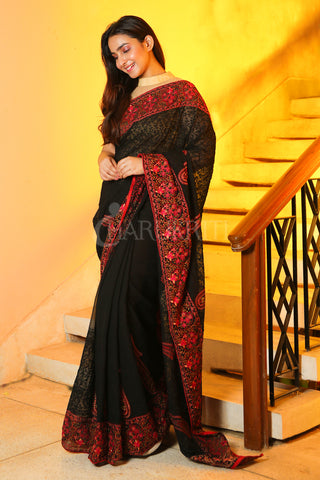 BLACK CHIFFON SAREE WITH SELF EMBROIDERED AND FLORAL JARDOSI BORDER