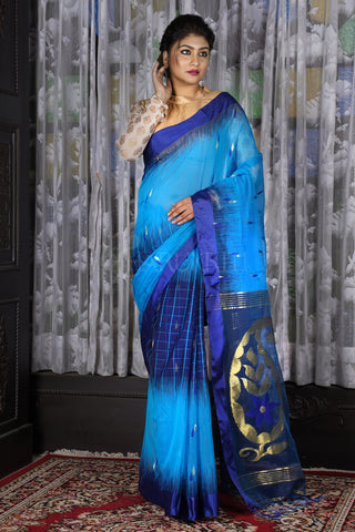 SKY BLUE AND ROYAL BLUE CHECKERED HANDLOOM SAREE WITH ZARI WORK PALLU