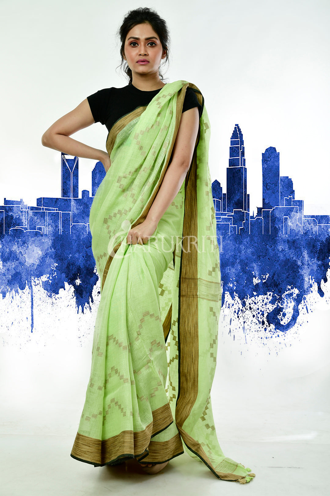 PALE GREEN KHADI LINEN WITH WEAVING PALLU AND BORDER