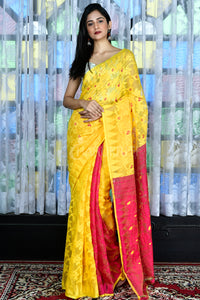 YELLOW AND PUNCH PINK JAMDANI WITH ALL OVER THREAD WEAVING