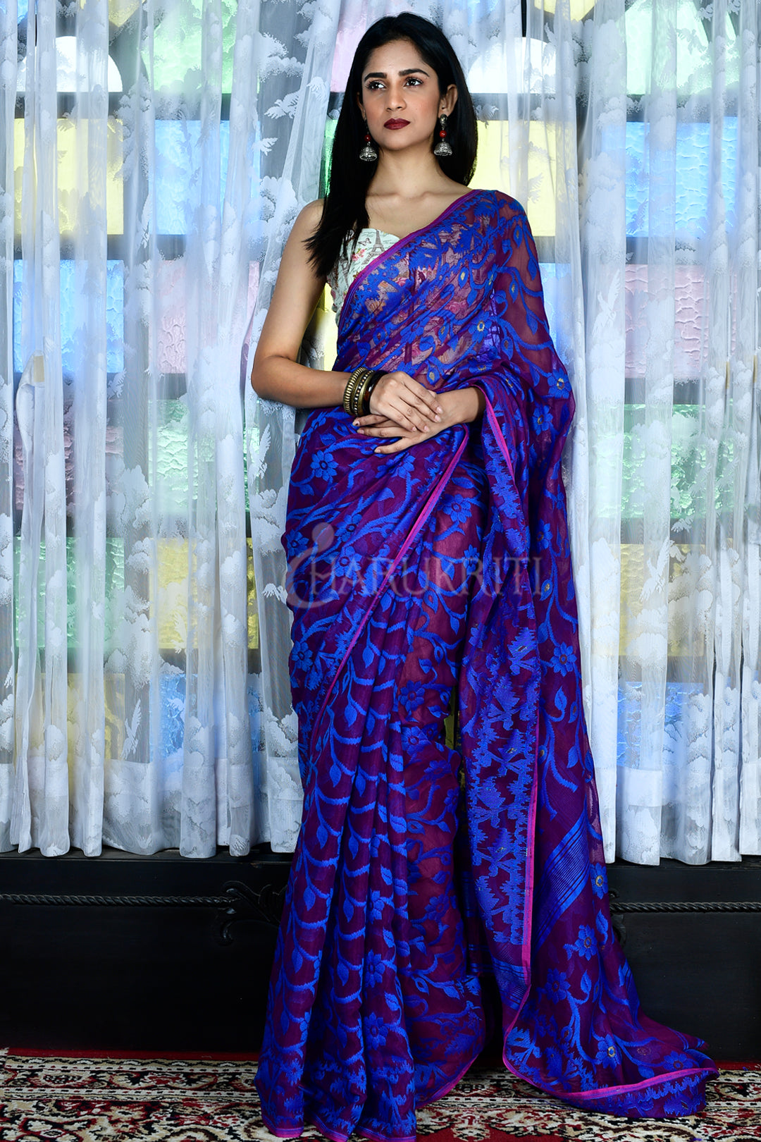 WINE JAMDANI SAREE WITH ROYAL BLUE ALL OVER THREAD WEAVEING