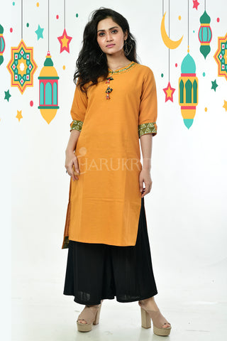 Yellow Pure Cotton Kurti With Wooden Elephant Button