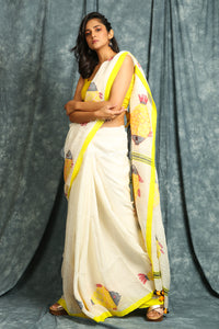 White Pure Linen Saree with Fish Weaving Pallu