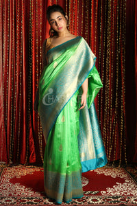 MINT GREEN AND SKY BLUE ZARI WEAVED TUSSAR BANARASI SAREE