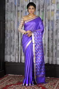 ELECTRIC VIOLET BLENDED COTTON SAREE WITH GEOMETRIC PALLU