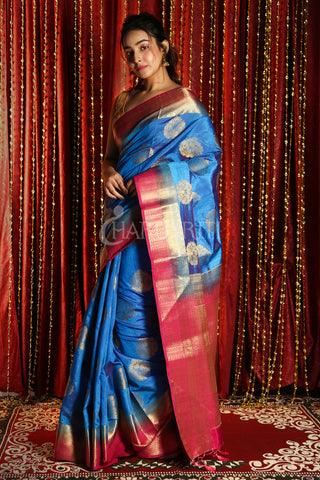 ROYAL BLUE DUAL TONE BLENDED SILK WITH ALLOVER ZARI WEAVING AND PINK BORDER & PALLU