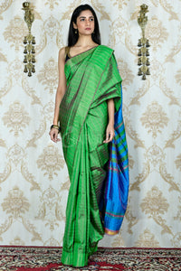 GREEN AND BLUE DUAL TONED ALL OVER ZARI CHECKERED KATAN SILK