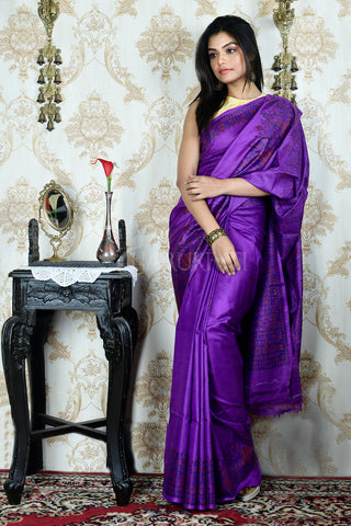 PURPLE TUSSAR SAREE WITH HAND PAINTED MADHUBANI