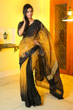 MUSTERED YELLOW AND BLACK PATLIPALLU IKKAT WEAVING HANDLOOM SAREE