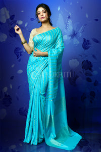 SKY BLUE BLENDED COTTON SAREE WITH GHICHA PALLU
