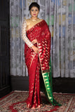 MAROON AND GREEN BLENDED COTTON SAREE WITH ALL OVER JAMDANI WEAVING