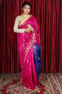 ROYAL PINK ALL OVER JAMDANI WEAVED SAREE WITH  BLUE PALLU