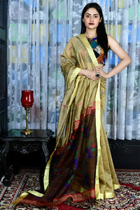 PEANUT BROWN BLENDED COTTON SAREE WITH WOVEN PALLU