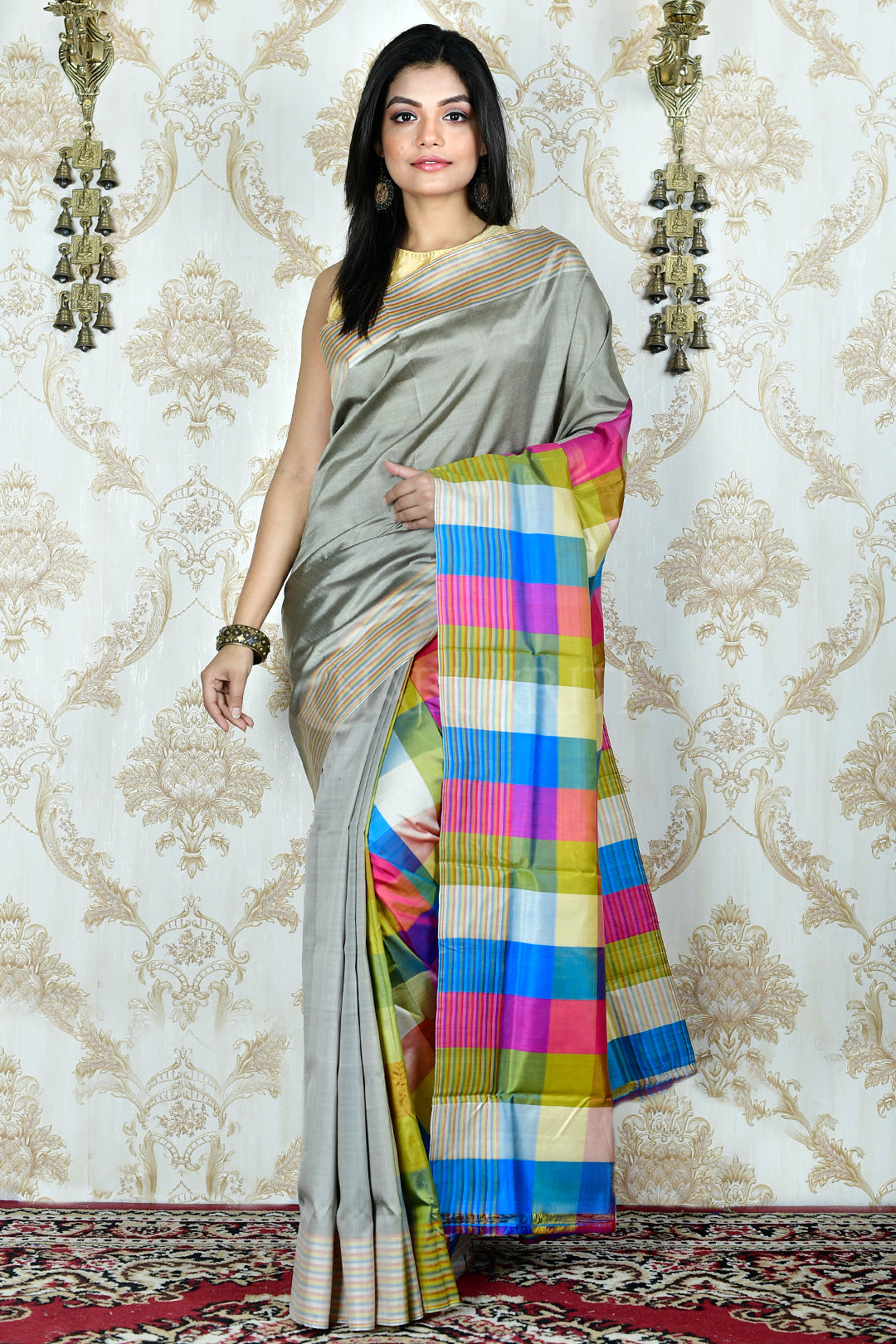 STEEL KATAN SILK WITH MULTICOLORED PALLU AND BORDER