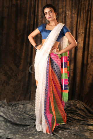 WHITE HALF & HALF jAMDANI WITH MULTICOLOR PALLU