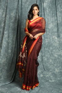 Garnet Maroon Linen Saree with Rich Weaving Pallu