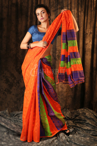 ORANGE HALF & HALF jAMDANI WITH MULTICOLOR PALLU