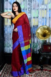 MAROON BLENDED COTTON SAREE WITH DUAL BORDER AND MULTICOLORED PALLU