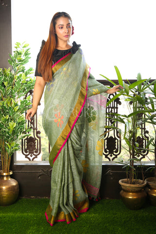 Grey Floral Weaving Pure Linen Saree