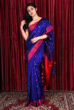 BLUE PURE COTTON SAREE WITH ALLOVER WEAVE & MAROON PALLU