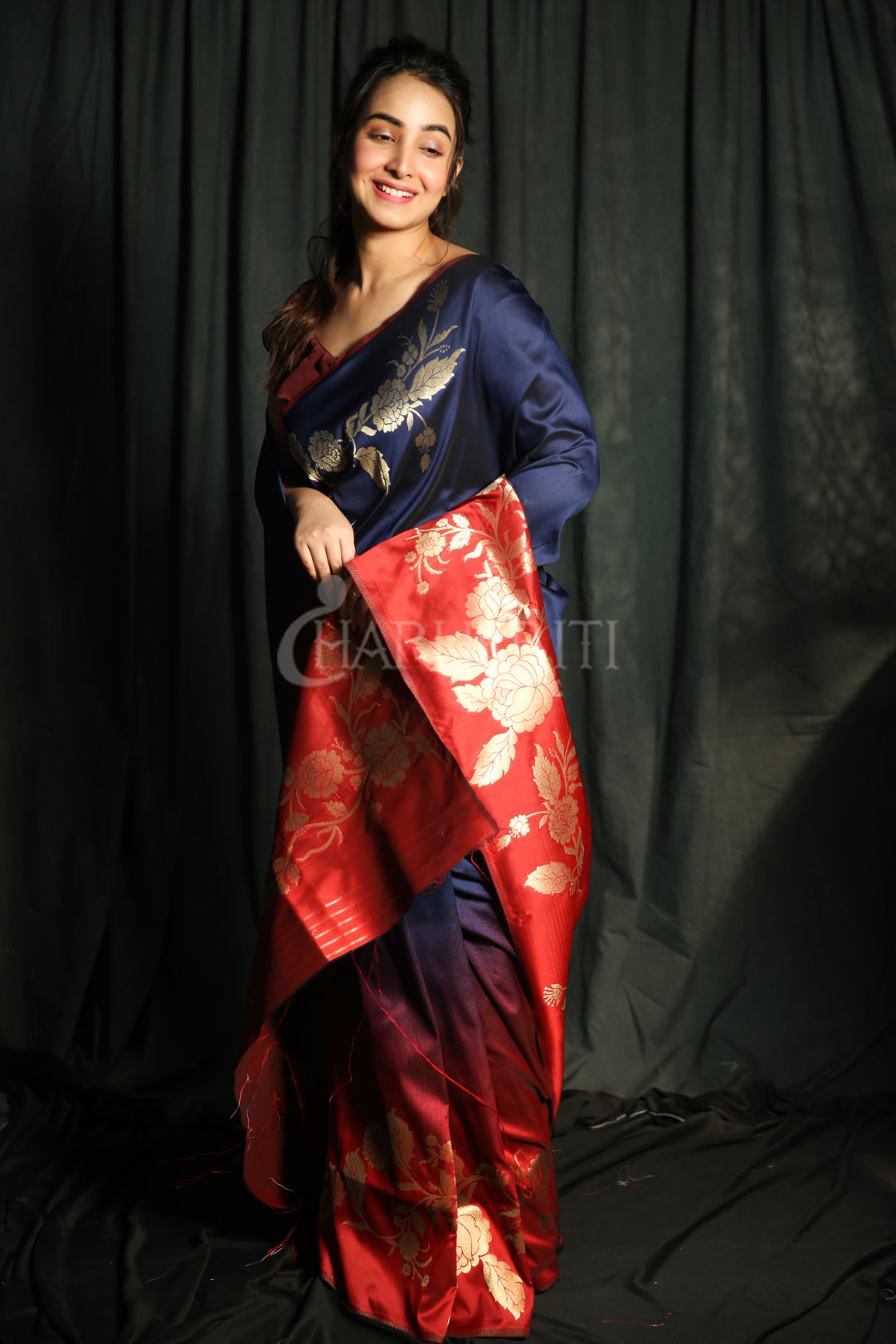 NAVY BLUE AND RED DUPION SILK SAREE WITH GOLDEN FLORAL BORDER