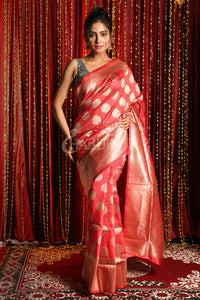 CORAL RED BLENDED SILK SAREE WITH FLORAL ZARI BORDER AND PALLU
