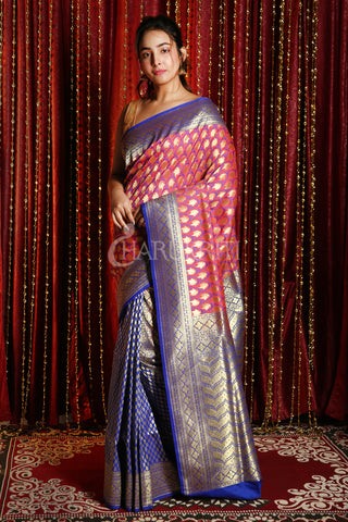 ROUGE PINK AND BLUE HALF HALF BANARSI WITH MINAKARI WEAVING