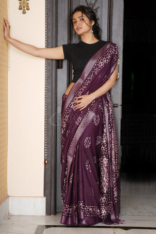 PLUM LINEN SAREE WITH BATIK PRINT