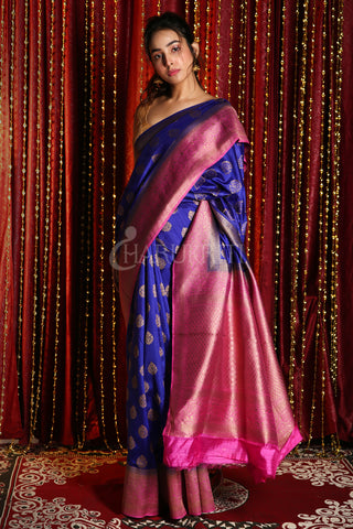 MIDNIGHT BLUE COPPER ZARI WEAVED BANARASI SAREE WITH PINK BORDER AND PALLU