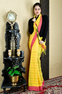 YELLOW PURE COTTON SAREE WITH ALL OVER WOVEN DESIGN AND PALLU