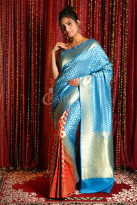 MAYA BLUE  & RED HALF HALF BANARSI WITH ZARI WEAVING