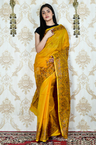 CANARY YELLOW  TUSSAR SAREE WITH HAND PAINTED MADHUBANI