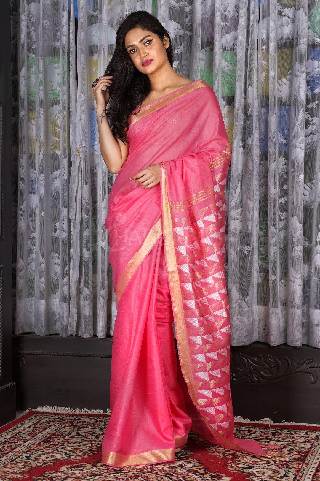 PINK BLENDED COTTON SAREE WITH GEOMETRIC PALLU