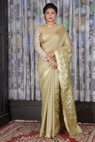 MELLOW YELLOW BLENDED COTTON SAREE WITH GEOMETRIC WEAVED PALLU
