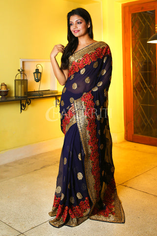 NAVY BLUE CHIFFON SAREE WITH FLORAL JARDOSI WORK