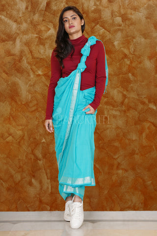 SKY BLUE PURE COTTON SAREE WITH SILVER BORDER
